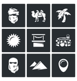 Set of Middle East Icons Arab Camel Palm vector image vector image