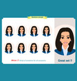 set of woman expression isolated businesswoman vector image vector image