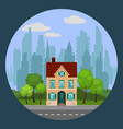 single beige house in ityscape vector image