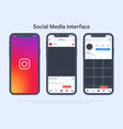 smartphone design with social media interface vector image vector image