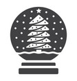 snow globe glyph icon new year and christmas vector image
