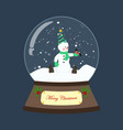 snowman in christmas costume in snowball vector image vector image