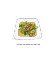 stir fried baby cabbage with crispy pork thai vector image vector image