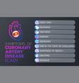 symptoms coronary artery disease cad icon vector image vector image