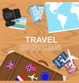 travelers desktop top view vector image vector image