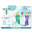 trifold brochure medical clinic hospital template vector image vector image