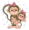 two monkeys a mother and a baby daughter vector image