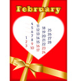 Valentine calendar for February 2013 vector image vector image