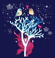 winter card with enamored birds in trees vector image vector image