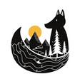 with fox and nature landscape - pine trees vector image