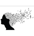 Woman head silhouette with music notes vector image vector image