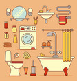 bath equipment icons vector image