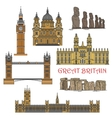 Chilean and british tourist landmark icons vector image