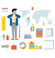 Business infographic set with icons vector image