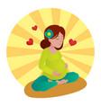 pregnant girl meditation vector image