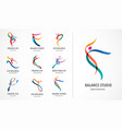 abstract people logo design gym fitness running vector image vector image