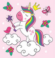 beautiful little unicorn on cloud vector image vector image