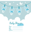 Blue Baby Shower Invitation with Pacifiers vector image