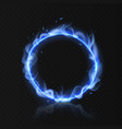 blue fire ring realistic burning circle round vector image vector image