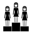 business women in podium competition success vector image