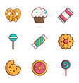 candy shop icons set flat style vector image vector image