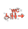 Cartoon wc toilet icon in comic style men and