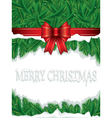 christmas background with ribbon and leaves vector image vector image