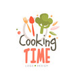 cooking time logo design hand drawn badge can be vector image vector image