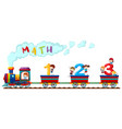counting numbers on train with happy children vector image