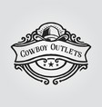 cowboy hat badge logo with banner vector image