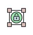 crypto blockchain with lock cryptocurrency flat vector image