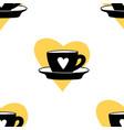 cups mug pattern seamless tile background heart vector image