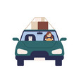 cute woman driver ride at automobile with cat vector image vector image