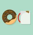 donut with coffee mug vector image