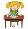 doodle girl charcter eating breakfast vector image vector image