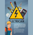 electrician with electrical equipment tool banner vector image vector image