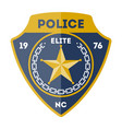 elite policeman sign with golden star icon vector image vector image