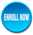 enroll now blue round flat isolated push button vector image vector image