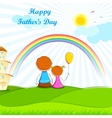 Father sitting with Kids vector image vector image
