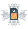 flat 5g sim card technology with microelectronics vector image