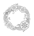 Floral hand drawn round frame in zentangle style vector image