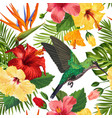 floral tropical seamless pattern with hummingird vector image vector image