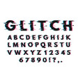 glitch font set on white vector image
