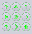 green arrows on gray buttons 3d icons set vector image