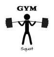 gym squat icon human symbol flat eps app vector image
