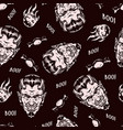 halloween monochrome vintage seamless pattern vector image vector image