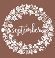 hand drawn september sign with wreath on brown vector image vector image