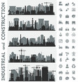 industrial city skyline sets with icons vector image vector image