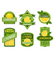 lemonade badges lemon drink emblem badge fresh vector image vector image