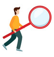 man hold magnifying glass flat isolated vector image vector image